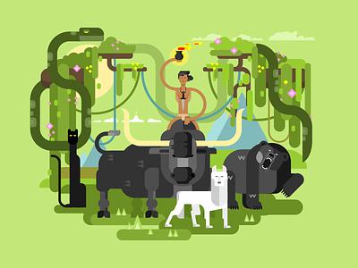 Mowgli jungle tree wildlife mammal character animal mowgli illustration vector flat kit8