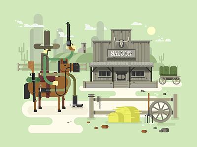 Wild west saloon sheriff western cowboy horse saloon west wild illustration vector flat kit8