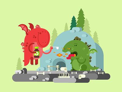 Ill dragon care health ill character dragon illustration vector flat kit8