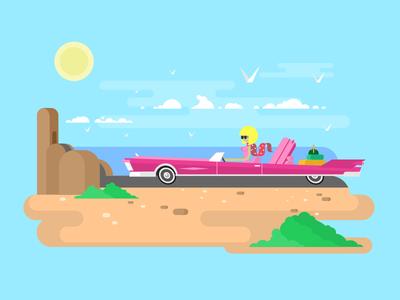 Blonde in cabriolet ocean coast car cabriolet character woman girl blonde illustration vector flat kit8