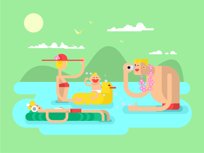 Family on vacation  mountains river lake vocation family illustration vector flat kit8
