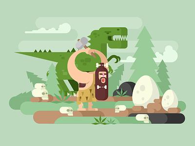 Primitive Man age stone hunter neanderthal dinosaur character man primitive illustration vector flat kit8