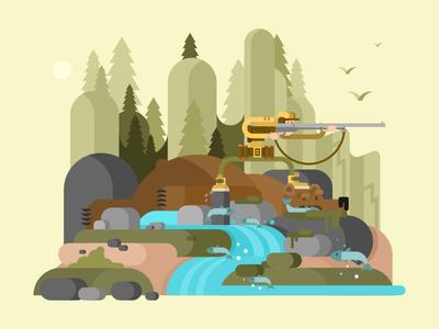 Hunter bear character river gun wood bear hunter illustration vector flat kit8