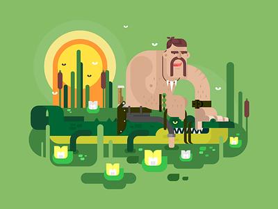 Crocodile hunter swamp man character hunter crocodile illustration vector flat kit8