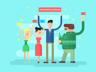 Congratulations party woman man character office birthday congratulations illustration vector flat kit8