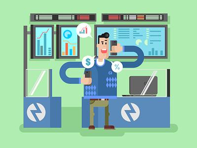 Trader buy sell phone man character trader broker stocks illustration vector flat kit8