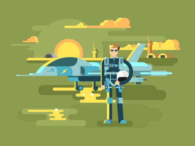 Pilot cloud fighter uniform helmet sunset pilot military illustration vector flat kit8