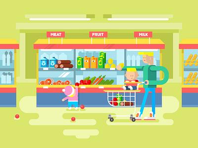 Supermarket showcase basket food father kid child family illustration vector flat kit8