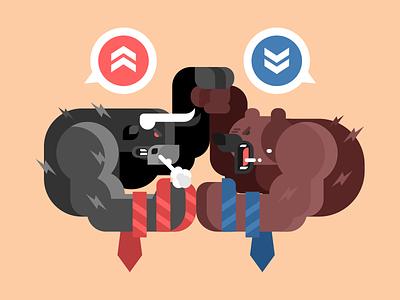 Bulls and bears fight character tie trend stock fight bears bulls illustration vector flat kit8