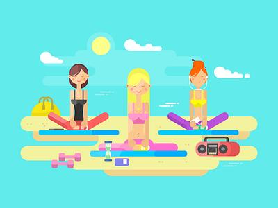Girls doing yoga metitation balance character beach fitness sport yoga girls illustration vector flat kit8