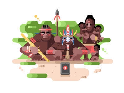 Aboriginal tribe and smartphone family tribe people character smartphone illustration vector flat kit8 aboriginal
