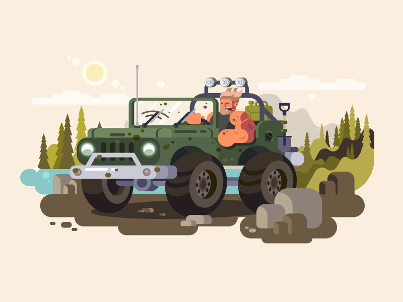 True man cigar hunter river jeep character nature suv man illustration vector flat kit8