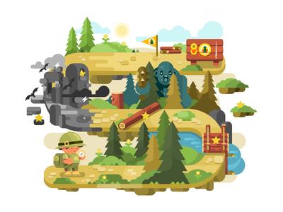 Adventure tale fairy game adventure character boy illustration vector flat kit8