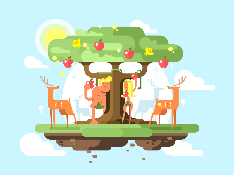 Adam and Eve character tree garden apple eve adam illustration vector flat kit8