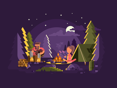 Camp man character vocation camping forest woods fire camp illustration vector flat kit8