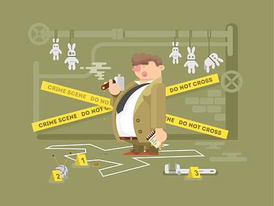 Detective character funny man detective scene crime illustration vector flat kit8