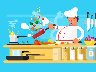 Chef food character prepare kitchen man chef illustration vector flat kit8