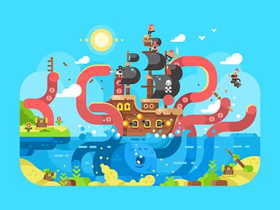 Kraken attack  ocean sea attack ship pirates kraken character illustration vector flat kit8