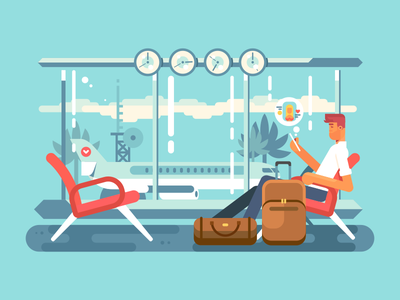 Waiting at airport airport departure character man waiting plane vocation illustration vector flat kit8