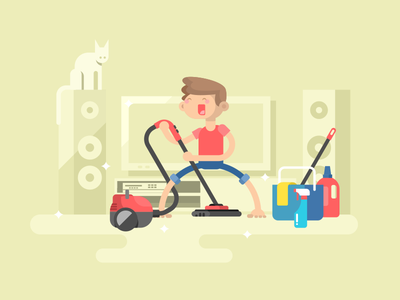 House cleaning vacuum cleaner cleaning house character man boy illustration vector flat kit8