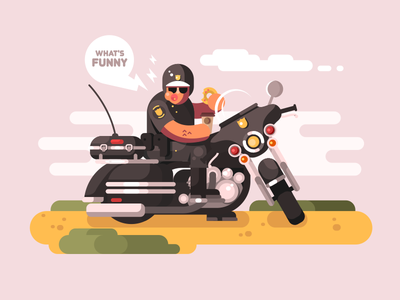 Police officer on motorcycle donut man character bike motorcycle officer police illustration vector flat kit8