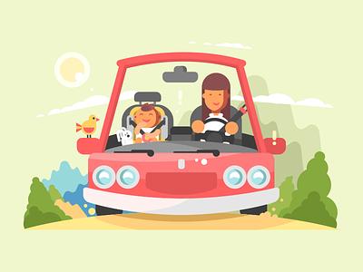 Car safe driving character kid child woman mother safe drive car illustration vector flat kit8