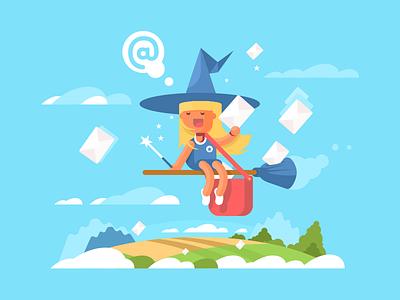 Postal fairy kid girl character broom fly mail fairy postal illustration vector flat kit8
