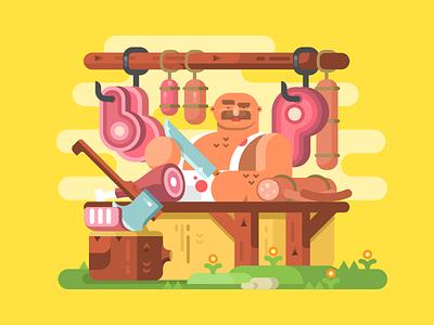 Butcher character meat cut butcher man illustration vector flat kit8