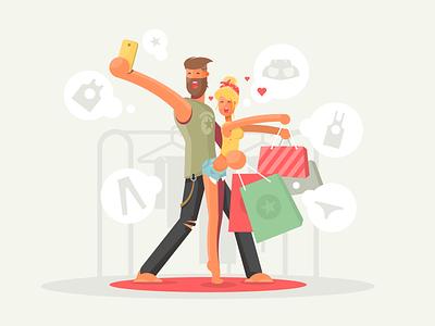 Shopaholics bags woman man adult girl boy chopping character illustration vector flat kit8