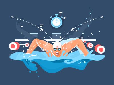 Swimmer front butterfly sport swim man illustration vector flat kit8