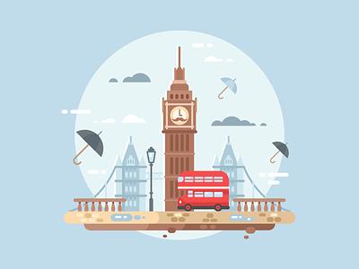 London urban bus bridge tower london city illustration vector flat kit8