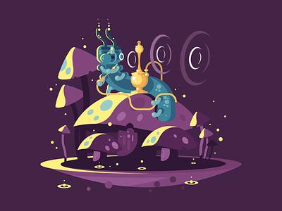 Absolem smoke wonderland alice hookah caterpillar character absolem illustration vector flat kit8