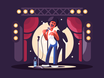 Standup stage microphone man black comedy standup character illustration vector flat kit8