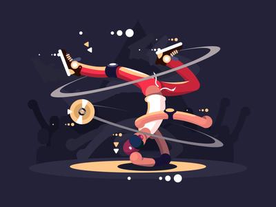 Breakdancer upside down man dance stage breakdancer character illustration vector flat kit8