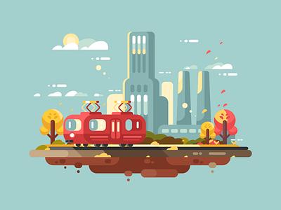Retro tram autumn urban transportation retro city tram illustration vector flat kit8