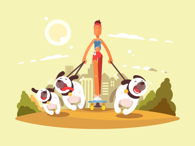 Walk with Dogs skate outdoor girl woman character dog walk illustration vector flat kit8