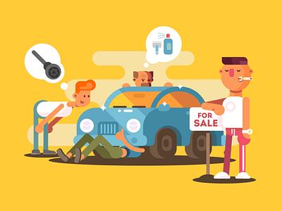 Car for sale character man sale car illustration vector flat kit8
