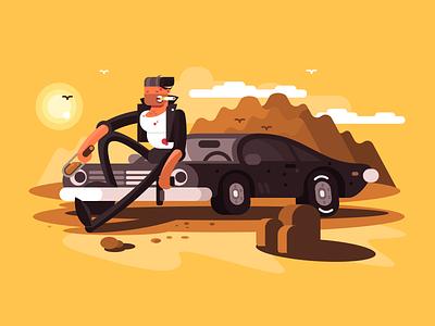 Tough guy near car criminal muscle car gun character man classic car illustration vector flat kit8
