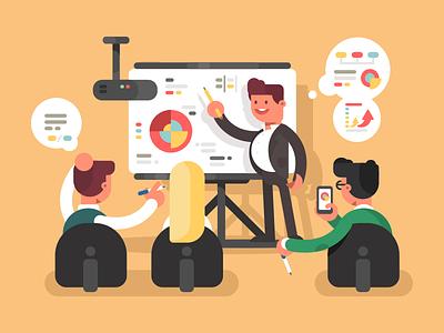 Presentation work office employee character presentation illustration vector flat kit8