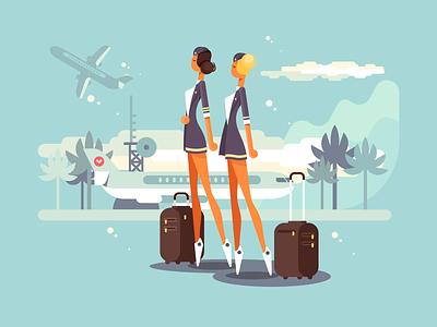 Flight attendants plane attendants flight airport woman character illustration vector flat kit8
