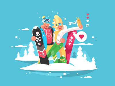 Snowboarders couple happy character skiing snowboarders illustration vector flat kit8