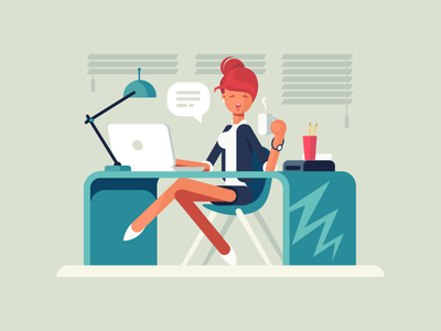 Girl at workplace secretary desk office workplace woman girl character illustration vector flat kit8