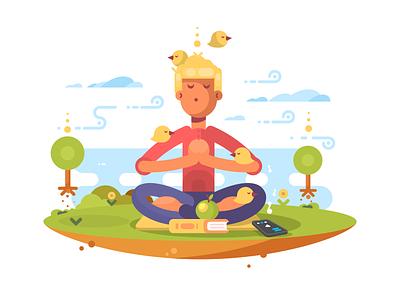 Meditation calm character meditating man illustration vector flat kit8