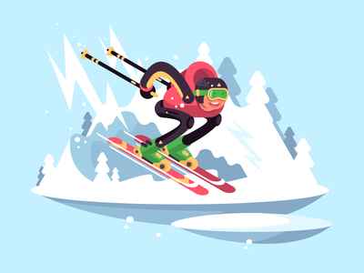 Skiing mountains winter character skiing man illustration vector flat kit8