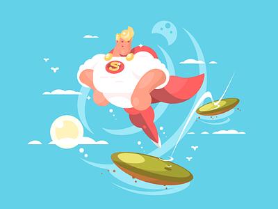 Superhero superhero fly man character illustration vector flat kit8