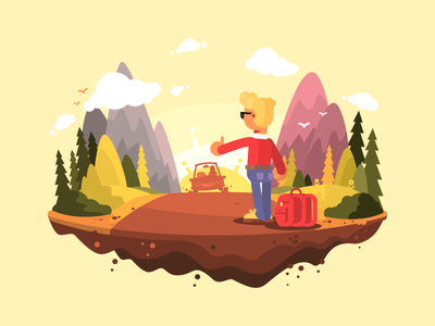 Hitchhiking highway tourist travel road adventure hitchhiker character illustration vector flat kit8