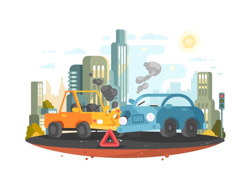 Road accident crush city accident traffic road car illustration vector flat kit8