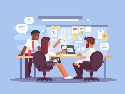 Work scheduling workplacemanagement environment schedule work office business illustration vectror flat kit8