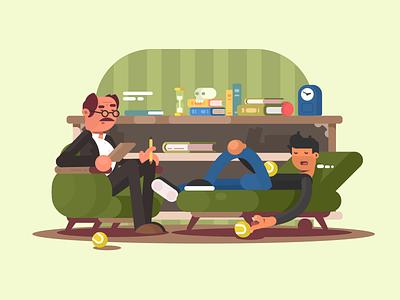 Psychologist health patient therapist professional psychologist character illustration vector flat kit8