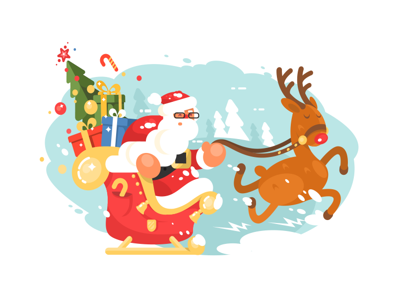 Santa in a hurry new year christmas gifts deer sleigh character claus santa illustration vector flat kit8
